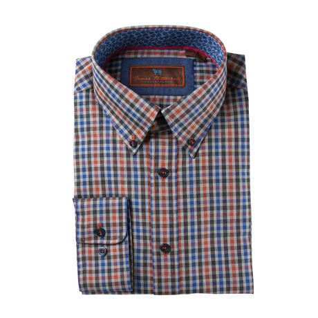 Woven Button Down Shirt // Orange + Blue Mini Plaid (XS)