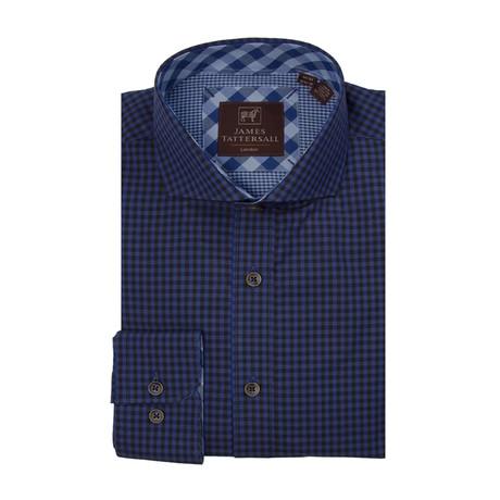 Woven Cut Away Collar Shirt // Blue + Black Checkered (XS)