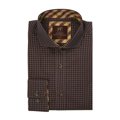 Woven Cut Away Collar Shirt // Mustard + Brown Checkered (XS)