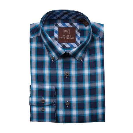 Woven Button Down Shirt // Teal + Blue + White Plaid (XS)