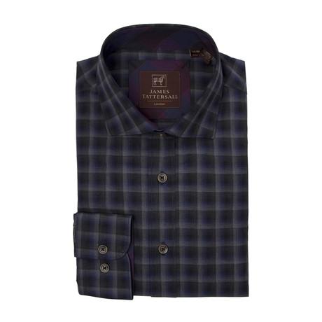 Woven Spread Collar Shirt // Dark Blue Checkered (XS)