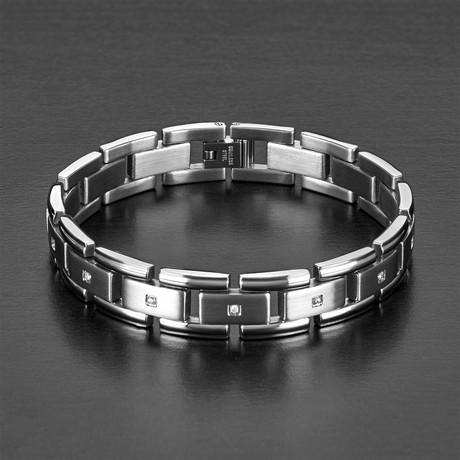 Cubic Zirconia Link Bracelet // Silver + Clear