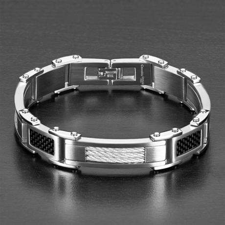 Cable Design Carbon Fiber Bracelet // Silver