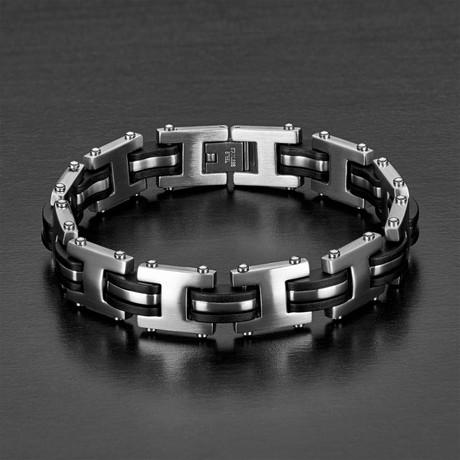 """""""I"""" Link Bracelet // Black + Silver"""