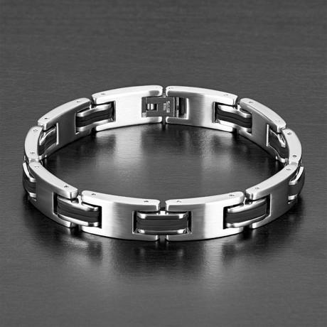 """Thick """"I"""" Link Bracelet 2 // Black + Silver"""