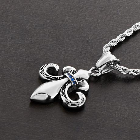 Crystal Fleur De Lis Pendant + Chain // Silver + Blue