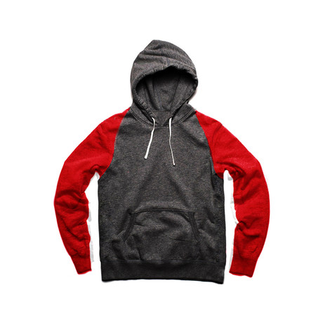 Two Tone Pullover Hoody // Red + Charcoal (S)