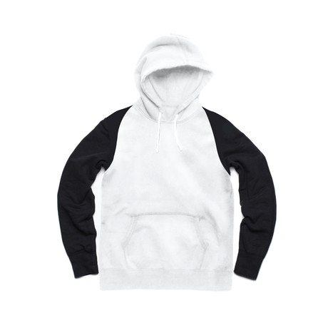 Two Tone Pullover Hoody // White + Black (S)