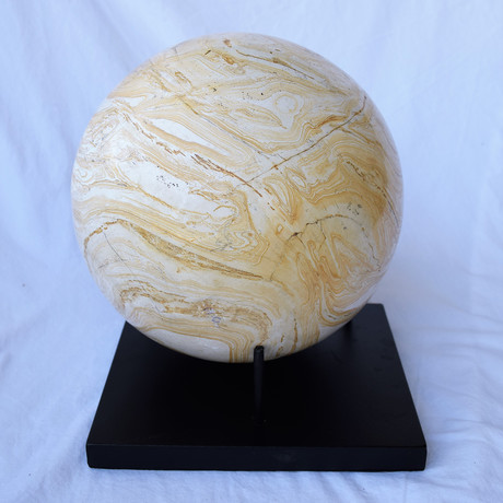 Petrified Wood Sphere Sculpture + Stand
