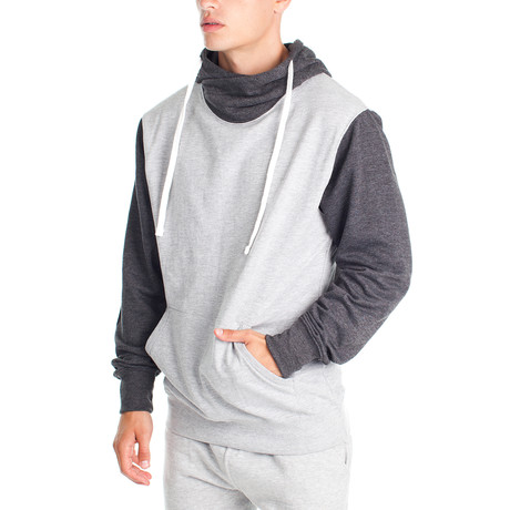 Two Tone Cowl Neck Hoody // Gray + Charcoal (S)