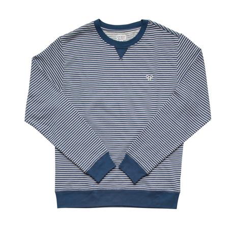 Stevie B Crewneck Fleece // Blue + White Stripe