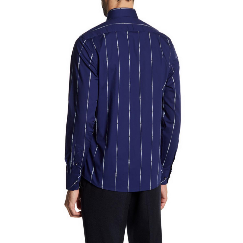 Harry slim fit printed dress shirt navy l t r for Navy slim fit shirt