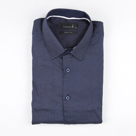 Micro Dot Print Button-Up Shirt // Navy