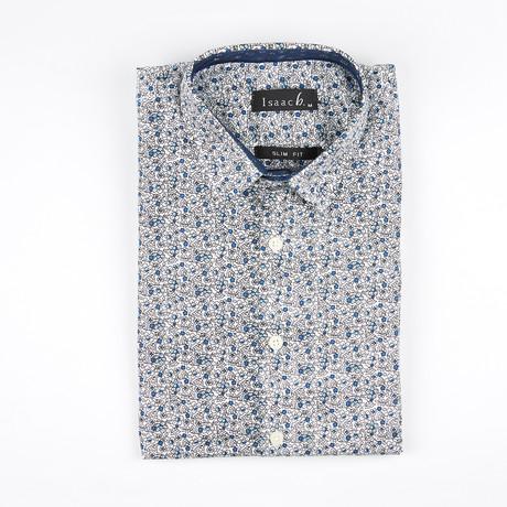 Flower Outline Button-Up Shirt // Blue