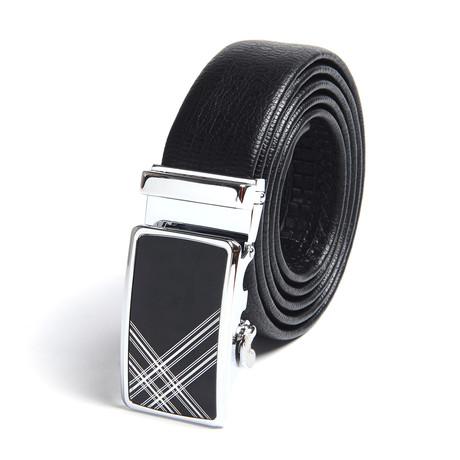 Sebastian Automatic Adjustable Belt // Black + Silver
