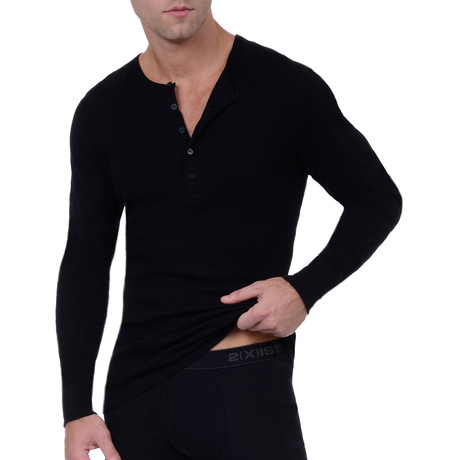 Essential Long Sleeve Henley // Black