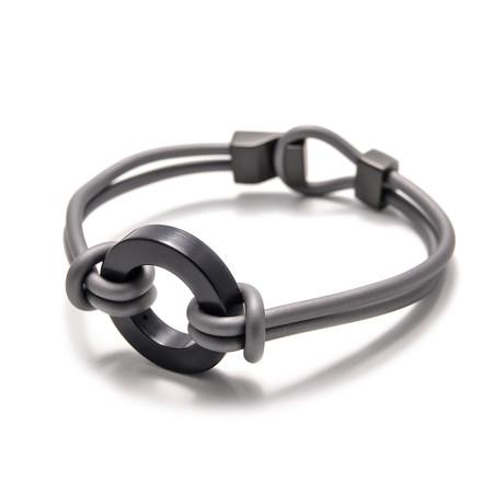 """Binomial Bracelet // Black Circle + Gray (7"""")"""