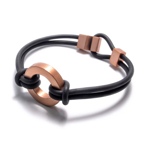 "Binomial Bracelet // Copper Circle + Black (7"")"