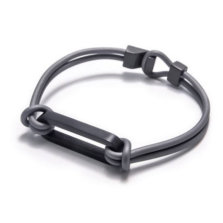 "Binomial Bracelet // Black Oval + Gray (7"")"