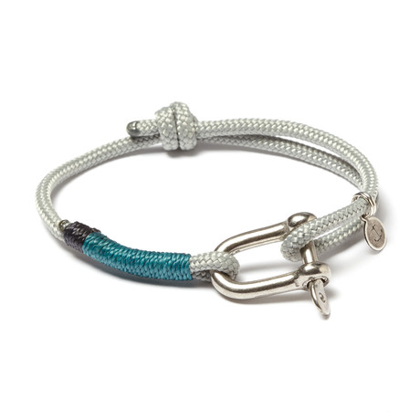 Stainless Steel D-Shackle Adjustable Cuff // Grey + Teal