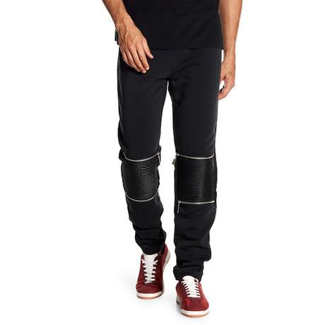 Fleece Knee-Zip Pant // Black