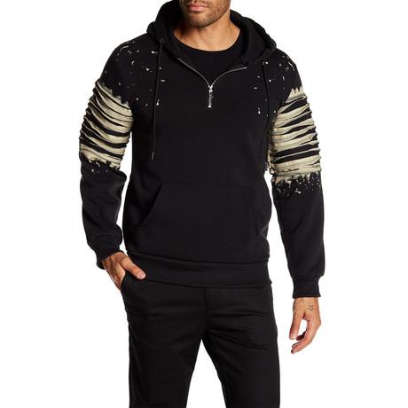 Fleece Half-Zip Splatter Hoodie // Black