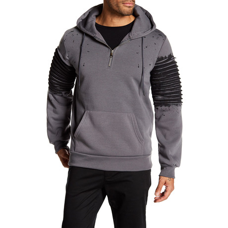 Fleece Half-Zip Splatter Hoodie // Dark Gray (S)