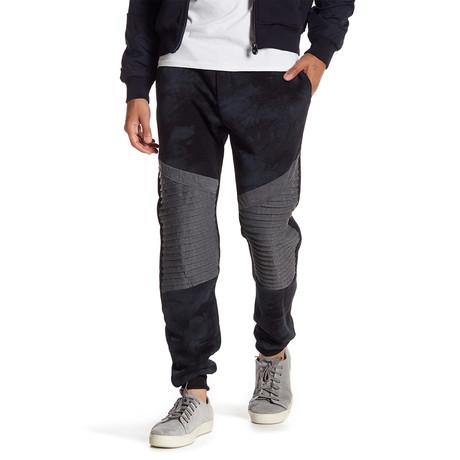 Fleece Color Block Pant // Black