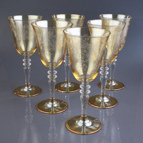 Handmade Amber Turkish Wine Glasses