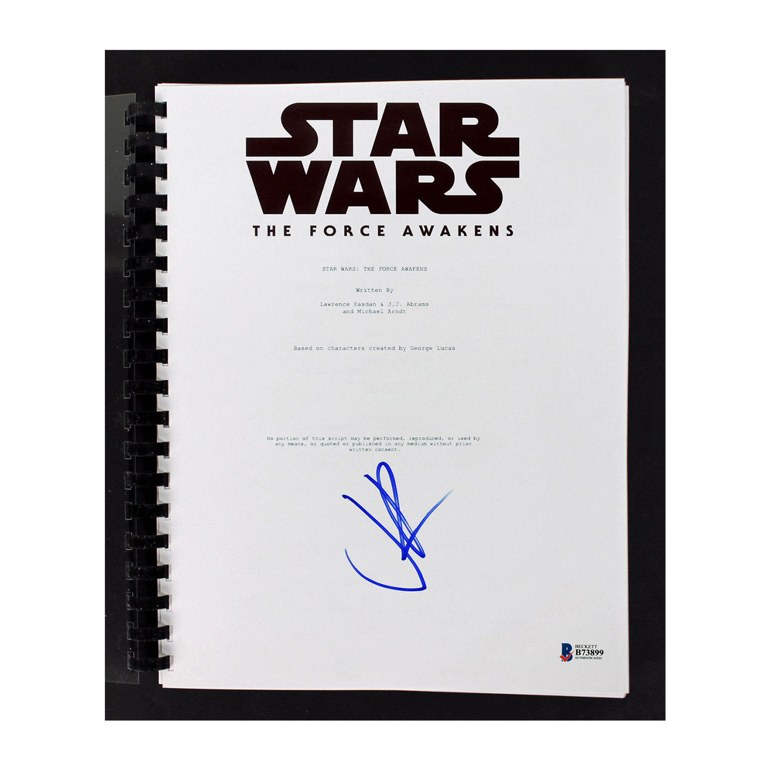 signed screenplay star wars the force awakens iconic