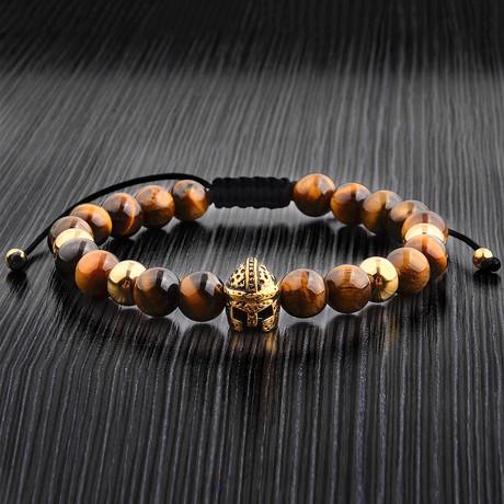 Tiger Eye + Gold Gladiator Adjustable Bracelet // Brown + Gold