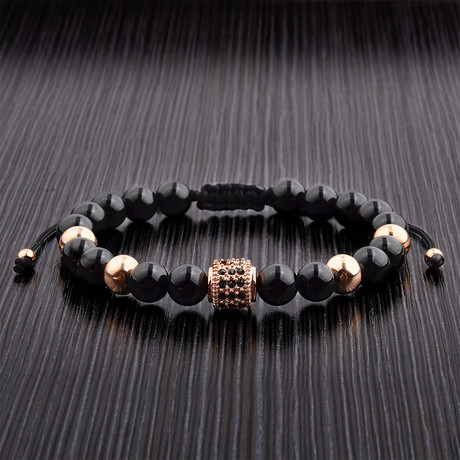 Rose Gold Black Onyx Adjustable Bracelet + CZ Accent // Black + Rose Gold