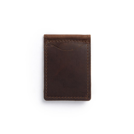 Money Clip Leather Wallet (Dark Brown)