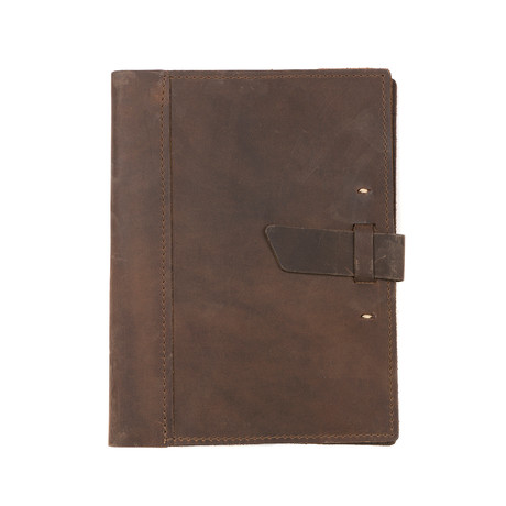 Large Leather Composition Notebook + Buckle (Dark Brown)