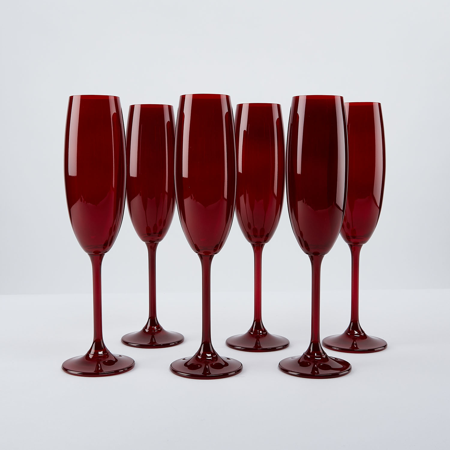 Bohemian Colored Red Champagne Flutes Set Of 6 The