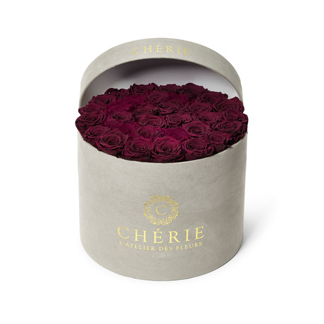 Raspberry Roses // Round Gray Suede Box