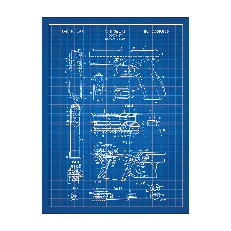 Glock 17 Handgun (Blue Grid) - Sci Fi Patent Prints - Touch