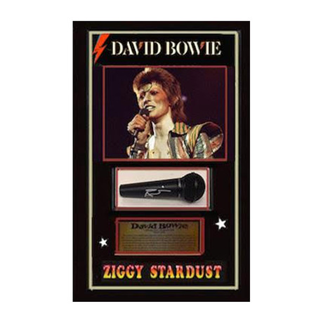Framed Autographed Microphone Collage David Bowie