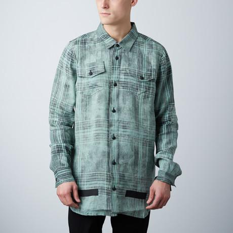 Linen Check Shirt // Mint All Over Black (S)