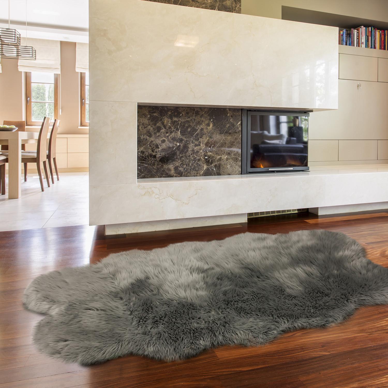 Faux Fur Grey Acrylic Rug // Quatro - ECarpet Gallery ...