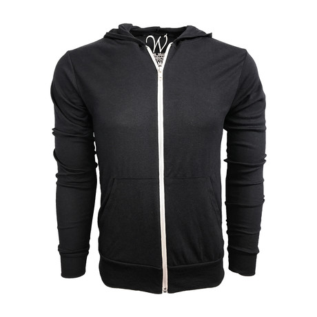 Ultra Soft Lightweight Tri-Blend Full Zip Hoodie // Black (S)
