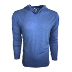 Ultra Soft Lightweight Tri-Blend Long Sleeve Hoodie // Vintage Royal Blue (S)
