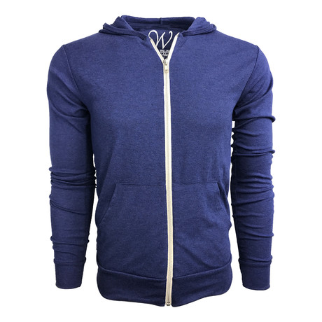 Ultra Soft Lightweight Tri-Blend Full Zip Hoodie // Royal Blue (S)