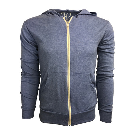 Ultra Soft Lightweight Tri-Blend Full Zip Hoodie // Light Blue (S)