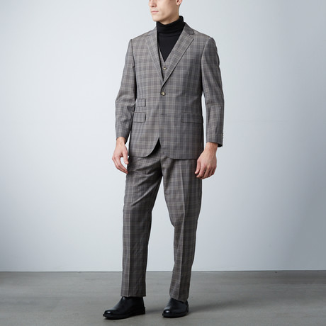 Bresciani // Modern Fit 3 Piece Suit // Checkered Brown (US: 36S)