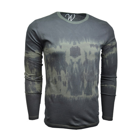 Ultra Soft Sueded Semi-Fitted L/S Crew // Distressed Army Green (S)