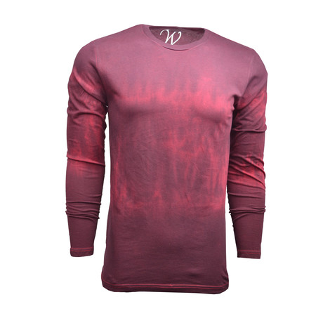 Ultra Soft Sueded Semi-Fitted L/S Crew // Distressed Cardinal (S)