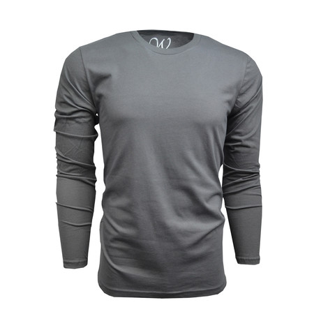 Ultra Soft Suede Semi-Fitted Long-Sleeve Crew // Charcoal (S)
