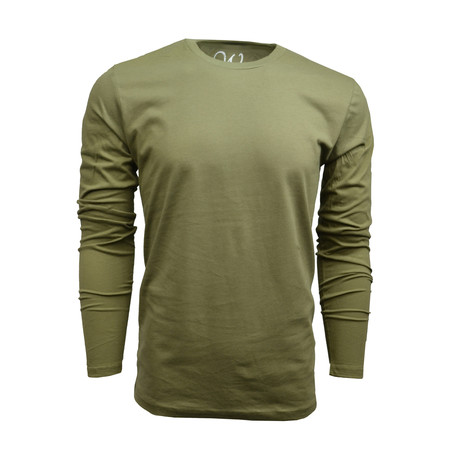 Ultra Soft Suede Semi-Fitted Long-Sleeve Crew // Military Green (S)