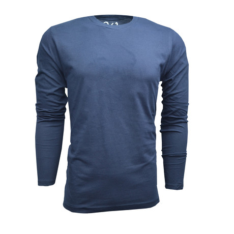 Ultra Soft Suede Semi-Fitted Long-Sleeve Crew // Navy (S)